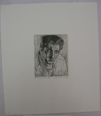 Philip Reisman (American, 1904-1992). <em>Self-Portrait</em>, n.d. Etching on paper, sheet: 10 1/16 x 8 3/4 in. (25.6 x 22.2 cm). Brooklyn Museum, Gift of Louise Reisman, 1993.39.49. © artist or artist's estate (Photo: Brooklyn Museum, CUR.1993.39.49.jpg)