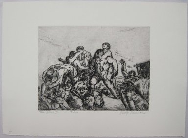 Philip Reisman (American, 1904-1992). <em>The Beach I</em>, 1927-1934. Etching on paper, sheet: 9 5/8 x 13 1/8 in. (24.5 x 33.3 cm). Brooklyn Museum, Gift of Louise Reisman, 1993.39.5. © artist or artist's estate (Photo: Brooklyn Museum, CUR.1993.39.5.jpg)