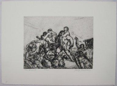 Philip Reisman (American, 1904-1992). <em>The Beach I</em>, 1927-1934. Etching on paper, sheet: 9 5/8 x 13 1/8 in. (24.5 x 33.3 cm). Brooklyn Museum, Gift of Louise Reisman, 1993.39.5. © artist or artist's estate (Photo: Brooklyn Museum, CUR.1993.39.5.jpg)