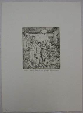 Philip Reisman (American, 1904-1992). <em>Soda Fountain</em>, n.d. Etching on paper, sheet: 12 15/16 x 9 1/2 in. (32.9 x 24.1 cm). Brooklyn Museum, Gift of Louise Reisman, 1993.39.50. © artist or artist's estate (Photo: Brooklyn Museum, CUR.1993.39.50.jpg)