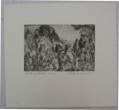 Philip Reisman (American, 1904-1992). <em>Splashing Horses</em>, n.d. Etching on paper, sheet: 8 13/16 x 9 1/2 in. (22.4 x 24.1 cm). Brooklyn Museum, Gift of Louise Reisman, 1993.39.51. © artist or artist's estate (Photo: Brooklyn Museum, CUR.1993.39.51.jpg)