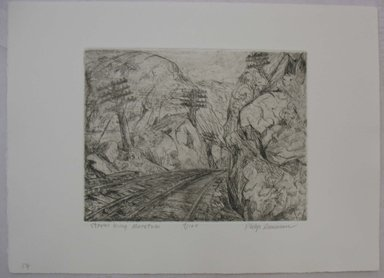 Philip Reisman (American, 1904-1992). <em>Storm King Mountain</em>, n.d. Etching on paper, sheet: 9 1/2 x 13 1/8 in. (24.1 x 33.3 cm). Brooklyn Museum, Gift of Louise Reisman, 1993.39.52. © artist or artist's estate (Photo: Brooklyn Museum, CUR.1993.39.52.jpg)