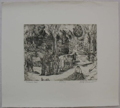 Philip Reisman (American, 1904-1992). <em>Sunday Stroll</em>, n.d. Etching on paper, sheet: 13 x 14 7/16 in. (33 x 36.6 cm). Brooklyn Museum, Gift of Louise Reisman, 1993.39.53. © artist or artist's estate (Photo: Brooklyn Museum, CUR.1993.39.53.jpg)