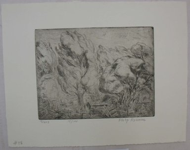 Philip Reisman (American, 1904-1992). <em>Trees</em>, n.d. Etching on paper, sheet: 9 9/16 x 12 1/4 in. (24.3 x 31.1 cm). Brooklyn Museum, Gift of Louise Reisman, 1993.39.54. © artist or artist's estate (Photo: Brooklyn Museum, CUR.1993.39.54.jpg)