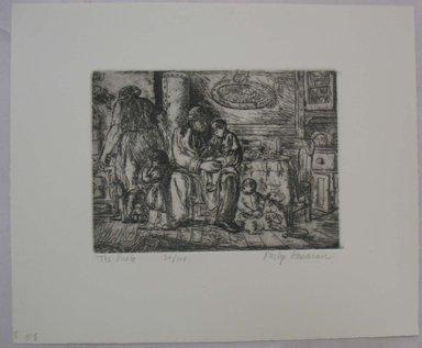 Philip Reisman (American, 1904-1992). <em>Uncle</em>, n.d. Etching on paper, sheet: 9 1/2 x 11 7/16 in. (24.1 x 29 cm). Brooklyn Museum, Gift of Louise Reisman, 1993.39.56. © artist or artist's estate (Photo: Brooklyn Museum, CUR.1993.39.56.jpg)