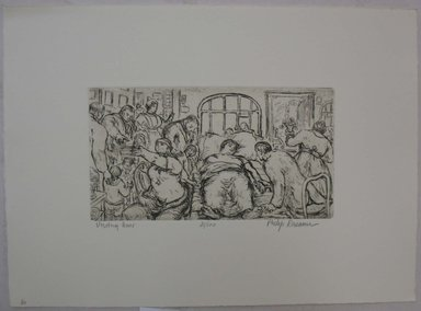 Philip Reisman (American, 1904-1992). <em>Visiting Hour</em>, n.d. Etching on paper, sheet: 9 9/16 x 13 3/16 in. (24.3 x 33.5 cm). Brooklyn Museum, Gift of Louise Reisman, 1993.39.58. © artist or artist's estate (Photo: Brooklyn Museum, CUR.1993.39.58.jpg)