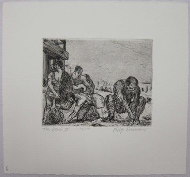 Philip Reisman (American, 1904-1992). <em>The Beach II</em>, 1927-1934. Etching on paper, sheet: 8 13/16 x 9 7/16 in. (22.4 x 23.9 cm). Brooklyn Museum, Gift of Louise Reisman, 1993.39.6. © artist or artist's estate (Photo: Brooklyn Museum, CUR.1993.39.6.jpg)