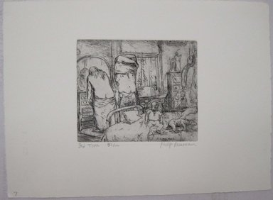 Philip Reisman (American, 1904-1992). <em>Bed Time</em>, 1927-1934. Etching on paper, sheet: 9 5/8 x 13 5/16 in. (24.4 x 33.8 cm). Brooklyn Museum, Gift of Louise Reisman, 1993.39.7. © artist or artist's estate (Photo: Brooklyn Museum, CUR.1993.39.7.jpg)