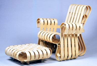 Frank Gehry (American, born 1929). <em>Ottomon, Power Play</em>, ca. 1991. Laminated maple, 8 1/8 x 23 3/8 x 23 3/8 in.  (20.6 x 59.4 x 59.4 cm). Brooklyn Museum, Gift of Andrew Cogan, 1993.71.2. Creative Commons-BY (Photo: , CUR.1993.71.1_1993.71.2.jpg)