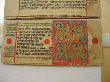 <em>Page 27 from a manuscript of the Kalpasutra: recto text, verso image of  King Siddhartha's exercises</em>, 1472. Opaque watercolor and ink on gold leaf on paper, sheet: height: 4 3/8 in. Brooklyn Museum, Gift of Dr. Bertram H. Schaffner, 1994.11.35 (Photo: Brooklyn Museum, CUR.1994.11.35_verso.jpg)