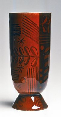 H. Edward Winter (American, 1909-1976, active 1932-1976). <em>Vase</em>, 1949. Copper, enamel, 6 3/4 x 3 x 3 in. (17.1 x 7.6 x 7.6 cm). Brooklyn Museum, Gift of Daniel Morris and Denis Gallion, 1994.117.2. Creative Commons-BY (Photo: Brooklyn Museum, CUR.1994.117.2.jpg)