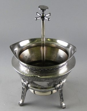 Reed & Barton (American, 1840-present). <em>Spoon Holder and Call Bell</em>, ca. 1885. Silverplate and traces of gilt, 8 1/2 x 5 7/8 x 5 5/8 in. Brooklyn Museum, Gift of Paul F. Walter, 1994.119.8. Creative Commons-BY (Photo: Brooklyn Museum, CUR.1994.119.8_view1.jpg)