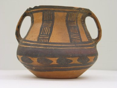 <em>Jar with Two Loop Handles</em>, 3rd-2nd millenium B.C.E. Earthenware, black and black-purple painted decoration, height: approx. 4 1/4 in. Brooklyn Museum, Gift of Nicholas Grindley, 1994.148.1. Creative Commons-BY (Photo: Brooklyn Museum, CUR.1994.148.1_front.jpg)