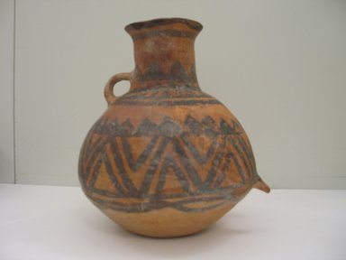 <em>Burial Jar with One Loop Handle</em>, 3rd-2nd millenium B.C.E. Earthenware with black painted decoration, height: 8 1/4 in. Brooklyn Museum, Gift of Nicholas Grindley, 1994.148.2. Creative Commons-BY (Photo: Brooklyn Museum, CUR.1994.148.2_side1.jpg)