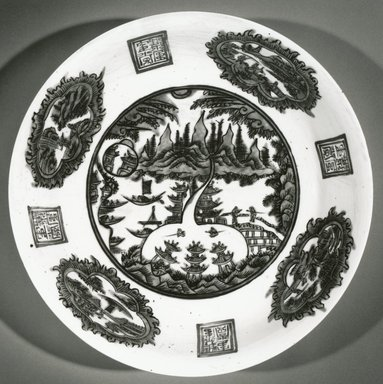 <em>Swatow Ware Charger</em>, 1600-1620. Porcelaneous high-fire ceramic with overglaze enamel decoration, h: 3 1/2 in. Brooklyn Museum, Gift of Dr. and Mrs. George Liberman, 1994.149. Creative Commons-BY (Photo: Brooklyn Museum, CUR.1994.149_bw.jpg)