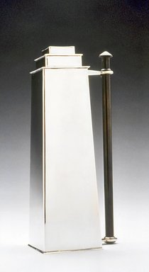 Louis W. Rice (American, 1872-1933). <em>Skyscraper Chamber Stick</em>, ca. 1928. Silverplate, patinated metal, 8 1/4 x 3 3/4 x 2 1/2 in. (21 x 9.5 x 6.4 cm). Brooklyn Museum, Modernism Benefit Fund, 1994.154.2. Creative Commons-BY (Photo: Brooklyn Museum, CUR.1994.154.2.jpg)