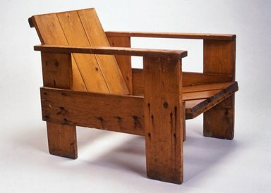Gerrit Th. Rietveld (Dutch, 1888-1964). <em>Crate Armchair</em>, ca. 1935. Wood, height: 23 1/4 in. Brooklyn Museum, Gift of Rosemarie Haag Bletter and Martin Filler, 1994.160. Creative Commons-BY (Photo: Brooklyn Museum, CUR.1994.160.jpg)