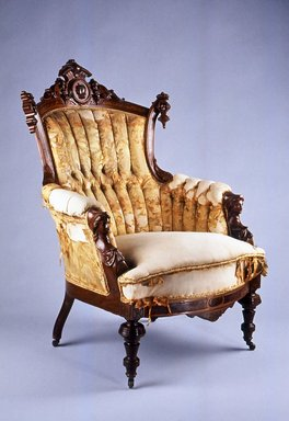 John Jelliff & Company (1836-1890). <em>Armchair (Renaissance Revival style)</em>, ca. 1870. Walnut, burl walnut veneer, original upholstery, 42 3/4 x 28 3/4 x 33 1/4 in. (108.6 x 73.0 x 84.4 cm). Brooklyn Museum, H. Randolph Lever Fund, 1994.18. Creative Commons-BY (Photo: Brooklyn Museum, CUR.1994.18.jpg)