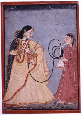 Indian. <em>Queen Vantu with a Hookah Attended by a Maid</em>, ca. 1750-1780. Opaque watercolor on paper, sheet: 10 5/16 x 7 1/4 in.  (26.2 x 18.4 cm). Brooklyn Museum, Gift of Martha M. Green, 1994.191.2 (Photo: Brooklyn Museum, CUR.1994.191.2.jpg)