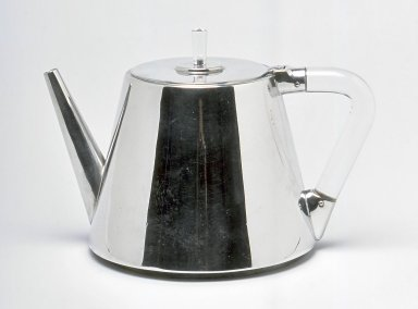 Unknown. <em>Tea Pot</em>, ca. 1930. Pewter, plastic, 5 3/8 x 7 3/4 x 5 1/2 in. (13.7 x 19.7 x 14 cm). Brooklyn Museum, Gift of Daniel Morris and Denis Gallion, 1994.205.2. Creative Commons-BY (Photo: Brooklyn Museum, CUR.1994.205.2.jpg)