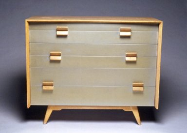 Jens Risom (American, born Denmark, 1916-2016). <em>Chest-of-Drawers</em>, ca. 1955. Pickled oak, silver lacquer, 36 1/8 x 43 3/8 x 19 1/2 in. (91.8 x 110.1 x 49.5 cm). Brooklyn Museum, Gift of Paul F. Walter in memory of May E. Walter, 1994.21.1. Creative Commons-BY (Photo: Brooklyn Museum, CUR.1994.21.1_view1.jpg)