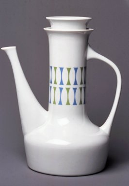 Paul McCobb (1917-1969). <em>Coffeepot and Lid, Contempri Design, Eclipse Pattern</em>, 1960-1965. Semi-porcelain, Overall (a & b): 11 1/4 x 9 x 6 5/8 in. (28.6 x 22.9 x 16.8 cm). Brooklyn Museum, Gift of Della Petrick Rothermel in memory of John Petrick Rothermel, 1994.61.15a-b. Creative Commons-BY (Photo: Brooklyn Museum, CUR.1994.61.15a-b.jpg)