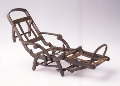 Henry James. <em>Patent Model, Mechanical Chair</em>, ca. 1872. Iron, brass, 1 3/4 x 3 x 9 in. (4.5 x 7.6 x 22.8 cm). Brooklyn Museum, Modernism Benefit Fund, 1995.144. Creative Commons-BY (Photo: Brooklyn Museum, CUR.1995.144.jpg)