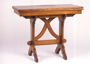 Unknown. <em>Table</em>, ca. 1845. Oak and green wool, display dims with top folded closed: 29 × 18 × 36 in. (73.7 × 45.7 × 91.4 cm). Brooklyn Museum, Gift of Geoffrey N. Bradfield, 1995.146. Creative Commons-BY (Photo: Brooklyn Museum, CUR.1995.146_closed.jpg)