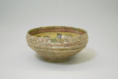 <em>Bowl</em>, 9th-10th century. Ceramic, earthenware, 3 7/16 x 7 1/16 in (diam. at mouth). (8.8 x 18 cm). Brooklyn Museum, Gift of Mena Rokhsar in memory of Ebrahim Khalil Rokhsar, 1995.187.6. Creative Commons-BY (Photo: Brooklyn Museum, CUR.1995.187.6_exterior.jpg)