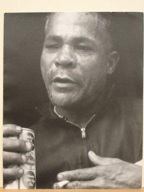 Leon Levinstein (American, 1910-1988). <em>[Untitled] (Prize Fighter, NYC)</em>, 1965. Gelatin silver photograph, 14 x 11 in. (35.6 x 27.9 cm). Brooklyn Museum, Gift of Stuart Karu, 1995.209.11. © artist or artist's estate (Photo: Brooklyn Museum, CUR.1995.209.11.jpg)