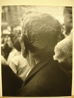 Leon Levinstein (American, 1910-1988). <em>[Untitled] (Back of Man's Head)</em>, ca. 1958. Gelatin silver photograph, sheet: 13 3/4 x 10 7/8 in. (34.7 x 27.5 cm). Brooklyn Museum, Gift of Stuart Karu, 1995.209.14. © artist or artist's estate (Photo: Brooklyn Museum, CUR.1995.209.14.jpg)