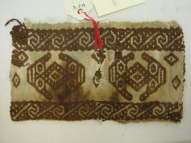 Lambayeque. <em>End of a Tie?, Fragment</em>, 1400-1532. Cotton, (8.5 x 14.5 cm). Brooklyn Museum, Gift of Kay Hodnett Nunez, 1995.47.25. Creative Commons-BY (Photo: Brooklyn Museum, CUR.1995.47.25.jpg)