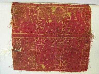 Coastal Wari. <em>Textile Fragment, Undetermined</em>, 600-1000. Cotton, camelid fiber, (14.5 x 17.0 cm). Brooklyn Museum, Gift of Kay Hodnett Nunez, 1995.47.78. Creative Commons-BY (Photo: Brooklyn Museum, CUR.1995.47.78.jpg)