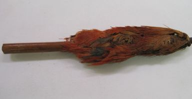 Coastal Wari. <em>Textile Fragment, Undetermined</em>, 600-1000. Wood, feathers, bast/leaf fiber, 3/4 × 1/2 × 4 in. (1.9 × 1.3 × 10.2 cm). Brooklyn Museum, Gift of Kay Hodnett Nunez, 1995.47.89. Creative Commons-BY (Photo: , CUR.1995.47.89.jpg)