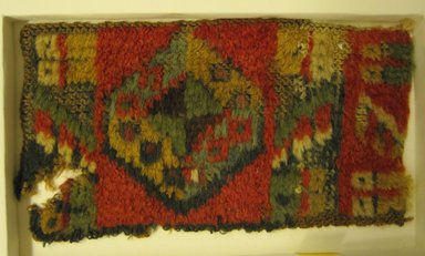 Possibly Coastal Wari. <em>Hat, Fragment</em>, 600-1400. Camelid fiber, length: (8.2 cm). Brooklyn Museum, Gift of Nobuko Kajitani, 1996.115.2. Creative Commons-BY (Photo: Brooklyn Museum, CUR.1996.115.2.jpg)