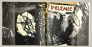 "Roy Lichtenstein (American, 1923-1997). <em>Cover for ""Polemic"" Magazine</em>, 1959. Woodcut on paper, sheet: 9 15/16 x 20 7/8 in. (25.2 x 53 cm). Brooklyn Museum, Alfred T. White Fund, 1996.13a-b. © artist or artist's estate (Photo: Image courtesy of Estate of Roy Lichtenstein, CUR.1996.13a-b_Lichtenstein_Estate_3791.jpg)"