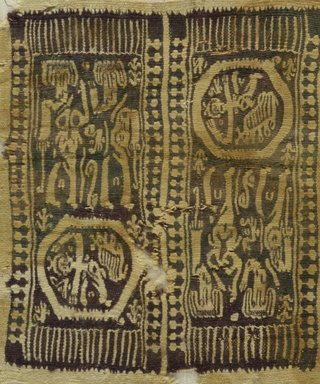 Coptic ?. <em>Square Fragment with Figural, Animal, and Geometric Decoration</em>, 7th century C.E. (possibly). Wool, 8 7/8 x 7 3/4 in. (22.5 x 19.7 cm). Brooklyn Museum, Bequest of Mrs. Carl L. Selden, 1996.146.12. Creative Commons-BY (Photo: Brooklyn Museum (in collaboration with Index of Christian Art, Princeton University), CUR.1996.146.12_ICA.jpg)