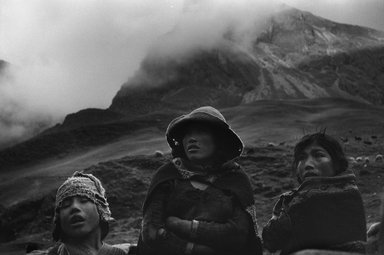 John Cohen (American, 1932-2019). <em>Qeros, Peru (Three Heads)</em>, 1956; printed 1957. Gelatin silver photograph, Image/Sheet: 8 3/4 x 13 1/2 in. (22.3 x 34.4 cm). Brooklyn Museum, Gift of the artist, 1996.165. © artist or artist's estate (Photo: Image courtesy of L. Parker Stephenson Photographs, New York City, CUR.1996.165_Parker_Stephenson_Gallery_photo.jpg)