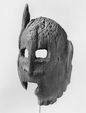 Dogon. <em>Mask</em>, 19th century?. Wood, 8 7/8 x 4 7/8 x 2 1/4 in. (22.5 x 12.4 x 5.7 cm). Brooklyn Museum, Gift of George and Gail Feher, 1996.200.3. Creative Commons-BY (Photo: Brooklyn Museum, CUR.1996.200.3_print_threequarter_bw.jpg)