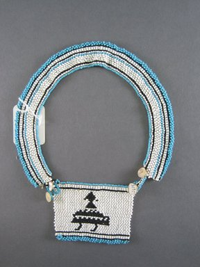 Xhosa (Thembu subgroup). <em>Neck Ornament (Iphoco)</em>, 1930s-1940s. Glass seed beads, fiber, 3 1/2 x 2 3/4 in. (8.9 x 7.0 cm). Brooklyn Museum, Gift of Mr. and Mrs. Lee Lorenz, 1996.202.13. Creative Commons-BY (Photo: Brooklyn Museum, CUR.1996.202.13_overall.jpg)