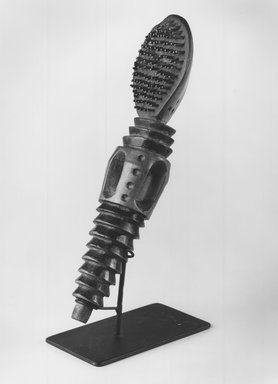Chokwe. <em>Brush</em>, 20th century. Wood, metal teeth, 7 1/2 x 2 1/2 x 1 1/2 in. (19.1 x 6.4 x 3.8 cm). Brooklyn Museum, Gift of Mr. and Mrs. Lee Lorenz, 1996.202.1. Creative Commons-BY (Photo: Brooklyn Museum, CUR.1996.202.1_print_bw.jpg)