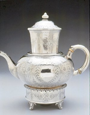 "Gale and Willis. <em>""Biggin"" Coffee Pot</em>, ca. 1865. Silver, 11 x 10 1/4 in. (27.9 x 26 cm). Brooklyn Museum, Gift of Wunsch Americana Foundation, Inc., 1996.219.6a-f. Creative Commons-BY (Photo: Brooklyn Museum, CUR.1996.219.6a-f.jpg)"