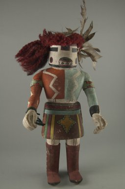 Hopi Pueblo. <em>Antelope Kachina Doll</em>, 20th century. Wood, pigment, yarn, feathers, 12 3/4 x 6 x 4 3/4 in. (32.4 x 15.2 x 12.1 cm). Brooklyn Museum, Anonymous gift, 1996.22.8. Creative Commons-BY (Photo: Brooklyn Museum, CUR.1996.22.8_front.jpg)
