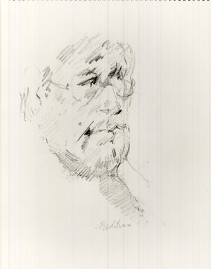 John Edward Heliker (American, 1909-2000). <em>Self-portrait</em>, 1977. Graphite, 11 1/8 x 8 1/4 in. (28.3 x 21 cm). Brooklyn Museum, Gift of Michael Rubenstein, 1996.235. © artist or artist's estate (Photo: Brooklyn Museum, CUR.1996.235.jpg)