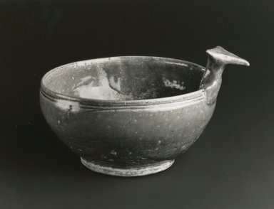 <em>Drinking Bowl, Yue Ware</em>, 265-588 C.E. Glazed stoneware, 2 3/8 x 6 1/2in. (6 x 16.5cm). Brooklyn Museum, Gift of George and Katharine Fan, 1996.26.8. Creative Commons-BY (Photo: Brooklyn Museum, CUR.1996.26.8_bw.jpg)