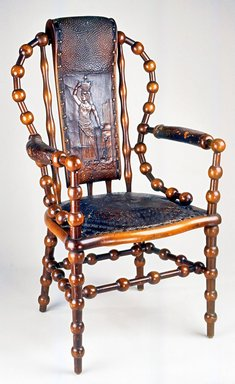 Attributed to George Jacob Hunzinger (American, born Germany, 1835-1898). <em>Armchair</em>, 1890s. Wood, leather, 43 1/4 x 26 x 25 1/4 in. (109.8 x 66.0 x 64.1 cm). Brooklyn Museum, Gift of Norman Mizuno and Alan J. Davidson in memory of Shinko Takeda, Kazu Takeda, Miyo Takeda and Yoshi Takeda, 1996.38a-b. Creative Commons-BY (Photo: Brooklyn Museum, CUR.1996.38a-b_view1.jpg)