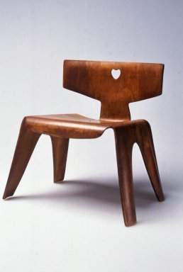 Ray Eames (Bernice Alexandra Kaiser) (American, 1912-1988). <em>Child's Chair</em>, ca. 1945. Molded plywood, 14 1/4 x 14 1/4 x 10 3/4 in. (36.0 x 36.0 x 27.2 cm). Brooklyn Museum, Modernism Benefit Fund, 1996.6. Creative Commons-BY (Photo: Brooklyn Museum, CUR.1996.6.jpg)