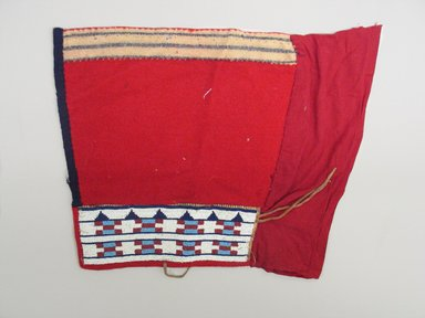 Plains (Northern). <em>Pair of Leggings</em>, first quarter 20th century. Hide, wool, cotton, beads, 13 x 7 5/8 in. (33.0 x 19.4 cm). Brooklyn Museum, Gift of Sasha Nyary and Family, 1997.105.4a-b. Creative Commons-BY (Photo: Brooklyn Museum, CUR.1997.105.4a-b_view2.jpg)