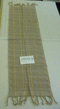 Yorùbá. <em>Woman's shawl (aṣọ-òkè)</em>, 1973. Cotton, metallic thread, 23 1/2 x 91 in. (59.7 x 231.1 cm). Brooklyn Museum, Gift of William C. Siegmann, 1997.172.3. Creative Commons-BY (Photo: Brooklyn Museum, CUR.1997.172.3.jpg)