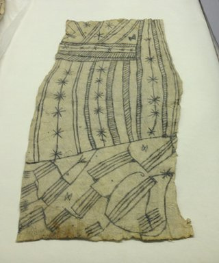 Mbuti Efe. <em>Loin Cloth</em>, 20th century. Bark cloth, pigment, 14 1/2 x 31 1/2 in.  (36.8 x 80 cm). Brooklyn Museum, Purchase gift of Beatrice Riese, 1997.19.1. Creative Commons-BY (Photo: Brooklyn Museum, CUR.1997.19.1.jpg)